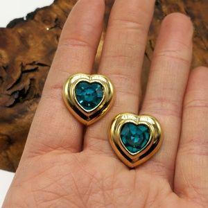 NWT Vintage Avon Box turquoise teal heart dainty